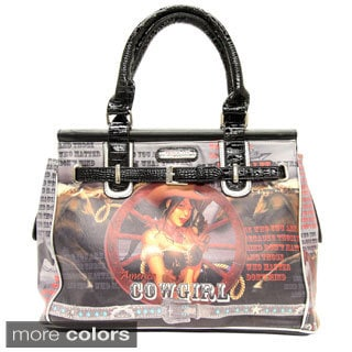 Nicole Lee Cowgirl Wheel Western Print Overnight Bag