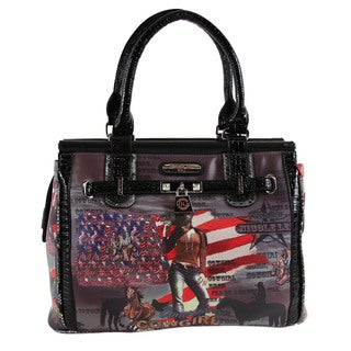 Nicole Lee Cowgirl Flag Western Print Large Tote Bag