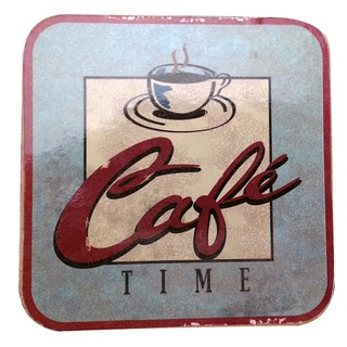 Cafe Time Non-slip Cork-backed Coaster (Set of 2)