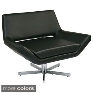 Modern Faux Leather Chrome Base Lounge Chair