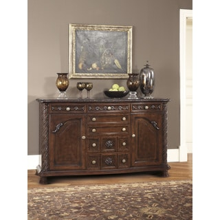 Signature Design by Ashley North Shore Dining Room Server in Dark Brown Finish