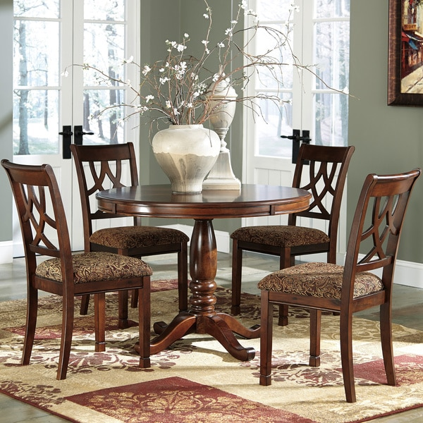 by ashley shardinelle two tone vintage brown round dining room table