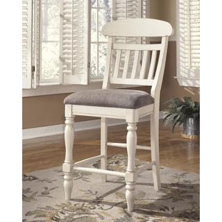 Signature Design by Ashley 'Manadell' White Upholstered Barstool (Set of 2)