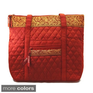 Hand-quilted Silk Classic Handbag (India)