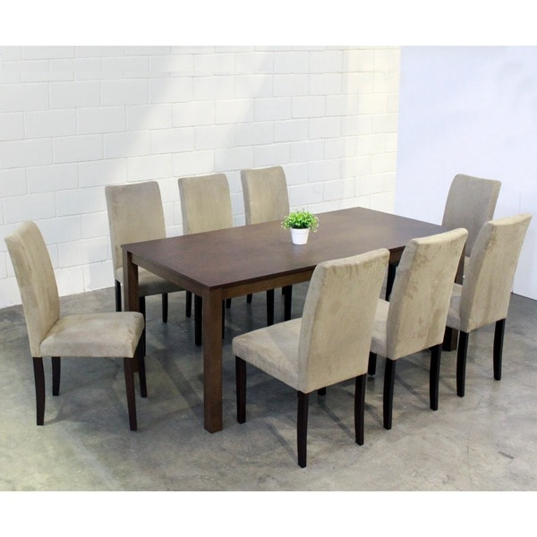 warehouse of tiffany 9 piece light brown juno table dining set