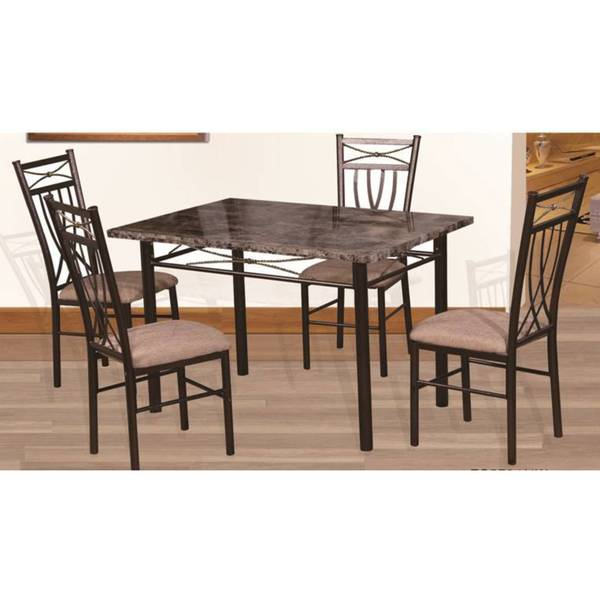 Marble Look Bronze 5 Piece Dining Set Overstock Shopping Big Discounts On Dining Sets
