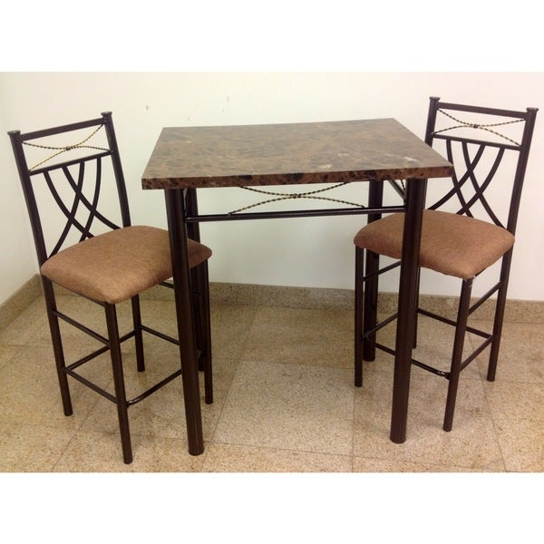 Marble look bronze 3 piece dining set table room chairs for 3 piece dining room table