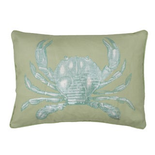 Carla Crab Rectangular Sequined Feather Fill Throw Pillow