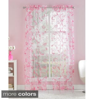Ribbon Trim Floral Sheer Curtain Panel Pair