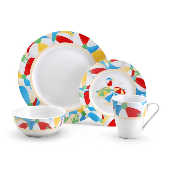 Pfaltzgraff Beach Ball 16-piece Porcelain Dinnerware Set 12949352