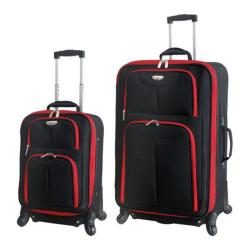 Travelers Club Dublin 2 Piece Expandable 4-Wheel Luggage Set Black/Red