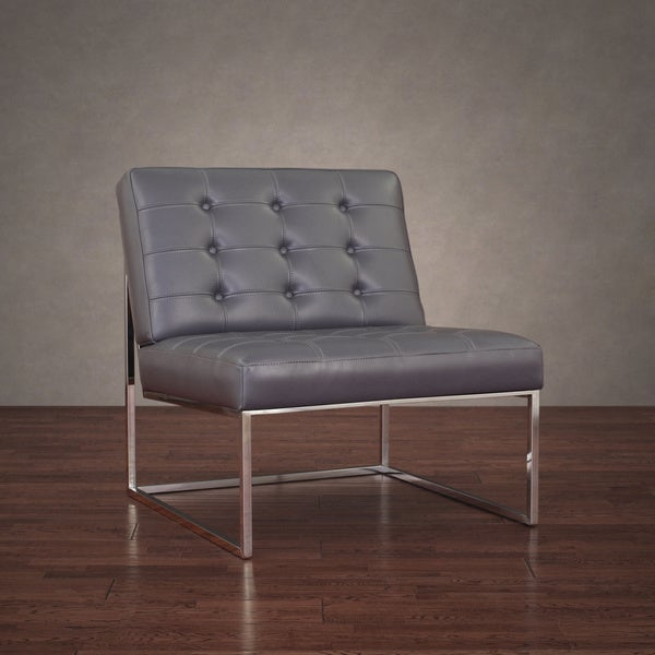 Brooklyn Modern Dark Grey Leather Lounger