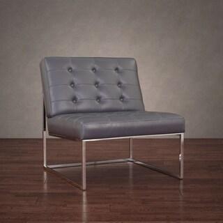 Brooklyn Modern Dark Grey Leather Lounger