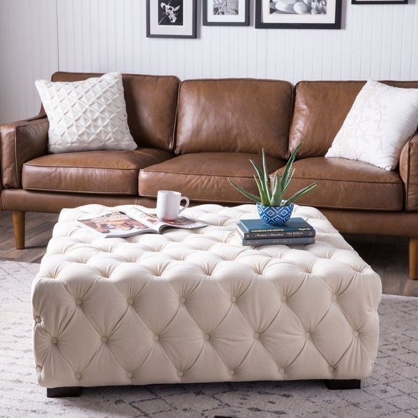 Juliette Crme Velvet Button-tufted Ottoman
