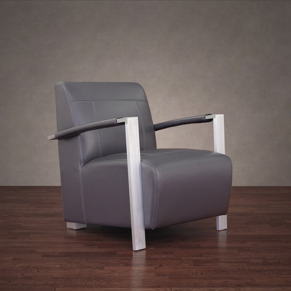 Newark Industrial Modern Dark Grey Leather Chair