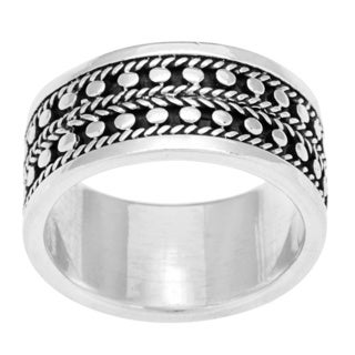 Sterling Silver Beaded Band Ring