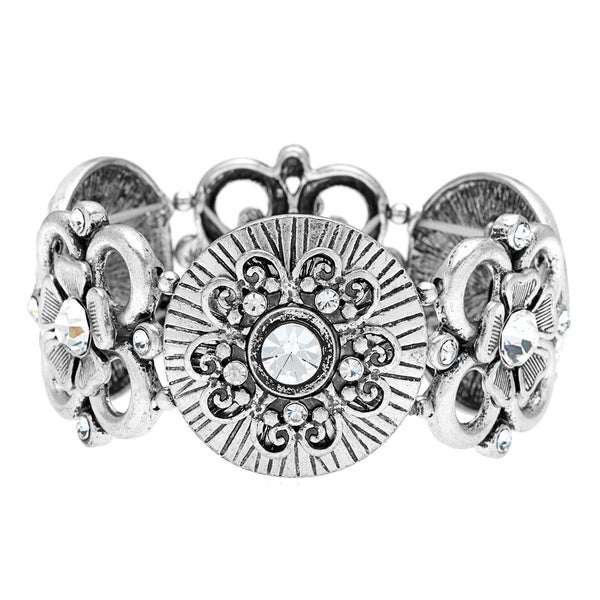 Silver and Crystal Floral Stretch Bracelet