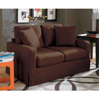 Lily Chocolate Slip Cover Love Seat