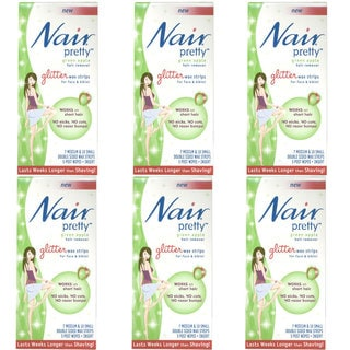 Nair Pretty Green Apple Hair Remover Glitter Wax Strips (Pack of 6)