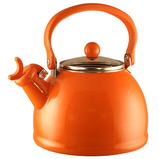 Reston Lloyd Calypso Basics Orange 2.2-quart Enameled Steel Whistling Teakettle