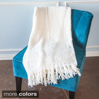 Warm Solid Fleece Blanket with Fringe Trim