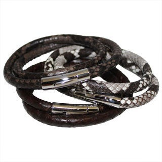 Men's Genuine Python Leather Double Wrap Bracelet