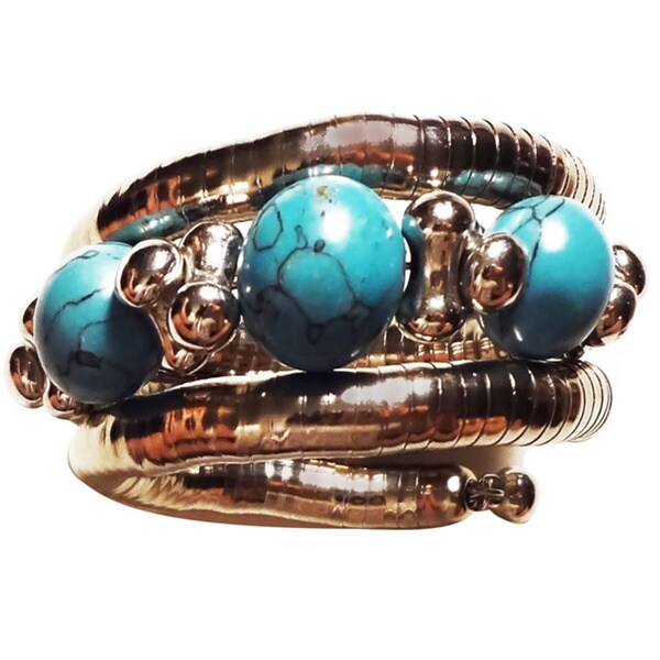 Pavcus Designs Stainless Steel Turquoise Magnesite Coil Wrap Bracelet