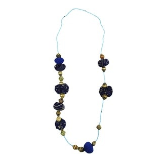 Hand-crafted Bouncing in Blue Beaded Necklace (Rwanda)
