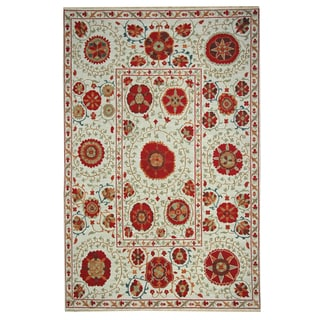 Hand-woven Indo Suzani Ivory Floral Wool Rug (3' x 5')
