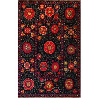 Hand-woven Indo Suzani Black Floral Wool Area Rug (3' x 5')