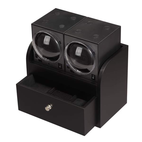 Diplomat Boxy Brick Double Watch Winder with Storage Drawer