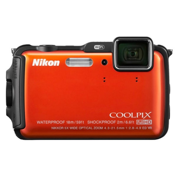 Nikon COOLPIX AW120 16MP Waterproof Orange Digital Camera