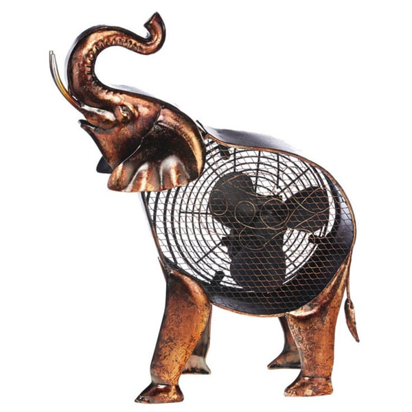 African Elephant Figurine Fan