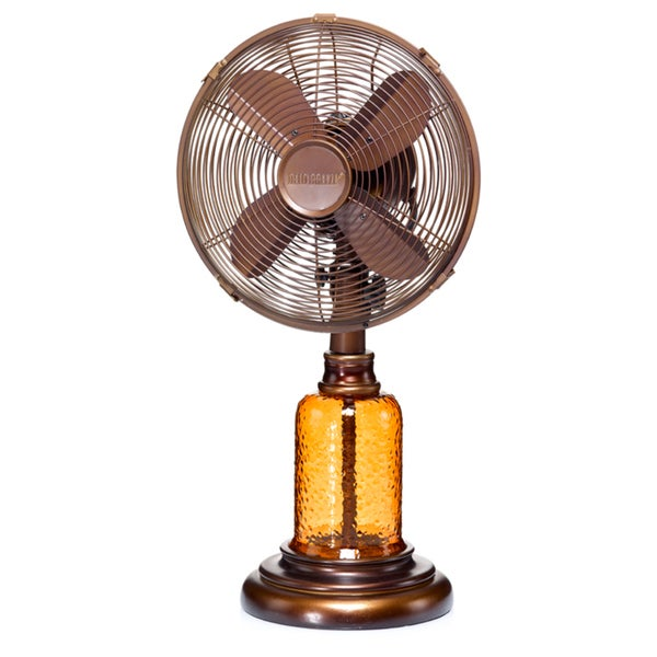 Amber Glass Table Fan