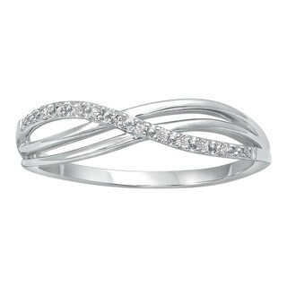 Beverly Hills Charm 10k White Gold Crossover Diamond Accent Ring (H-I, I2-I3)