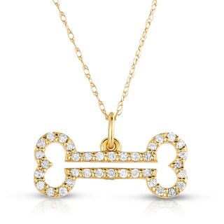 10k Yellow Gold 1/4ct TDW Diamond Dog Bone Necklace (H-I, I2-I3)
