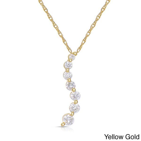 Eloquence 14k White Gold 1/2ct TDW Diamond Journey Necklace (H-I, I2-I3)