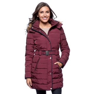 Tommy Hilfiger Women's Violet Down-alternative Coat with Faux Fur Trimmed Hood