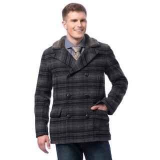 Cole Haan Men's Plaid Wool Peacoat
