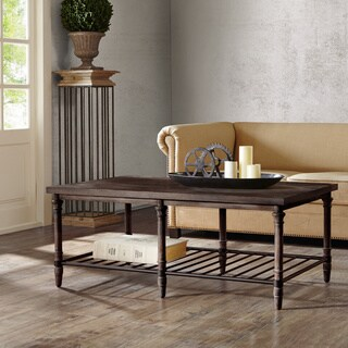50-inch Renate Cocktail Table in Coffee Brown with Rack
