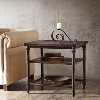 28-inch Renate End Table in Coffee Brown with Rack