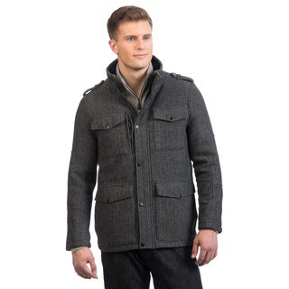 Kenneth Cole Men's Black Cat Herringbone Jacket