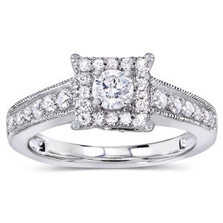 Annello 14k White Gold 1/2ct TDW Round Diamond Miligrain Engagement Ring (H-I, I1-I2)