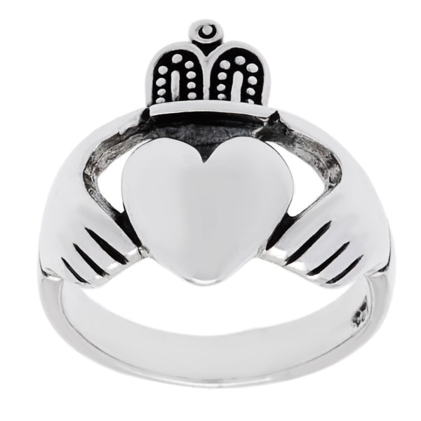 Sterling Silver High Polished Irish Claddaugh Ring