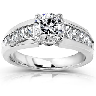 Annello 18k White Gold Certified 2ct TDW Diamond Engagement Ring (F, SI2)