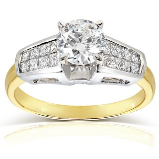 Annello 18k Yellow Gold and Platinum Certified 1 1/2ct TDW Diamond Engagement Ring (F, SI2)