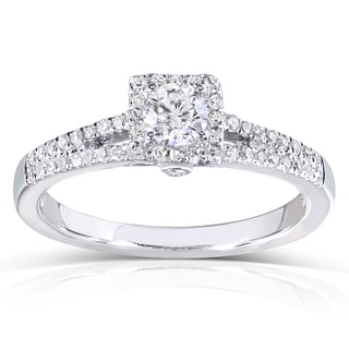 Annello 14k White Gold 1/3ct TDW Round-cut Diamond Engagement Ring (H-I, I1-I2)