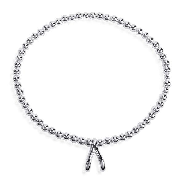 Lucky Elastic Silver Bead Wishbone .925 Silver Bracelet (Thailand)