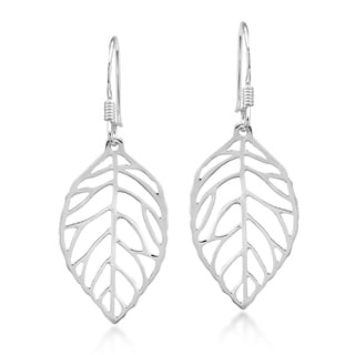Trendy Leaf Outline .925 Sterling Silver Dangle Earrings (Thailand)