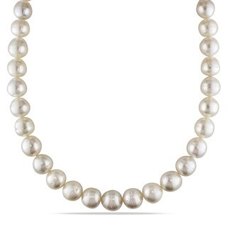 Miadora Signature Collection 14k Yellow Gold South Sea Pearl Necklace (9-12 mm)